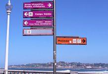 Señales de tráfico indicativas en el paseo de San Lorenzo
