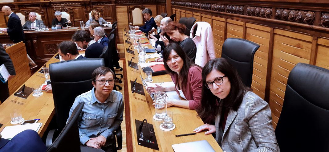 Las concejalas de Podemos-Equo Xixón en el pleno de aprobación de las ordenanzas