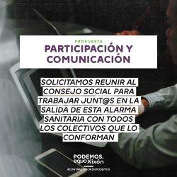 Propuestas Covid19. Participación y comunicación. Solicitamos reunir al Consejo Social para trabajar junt@s en la salida de esta alarma sanitaria con todos los colectivos que lo conforman.