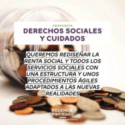 Propuestas Covid19. Derechos sociales y cuidados. Queremos rediseñar la renta social y todos los servicios sociales con una estructura y unos procedimientos ágiles adaptados a las nuevas realidades.